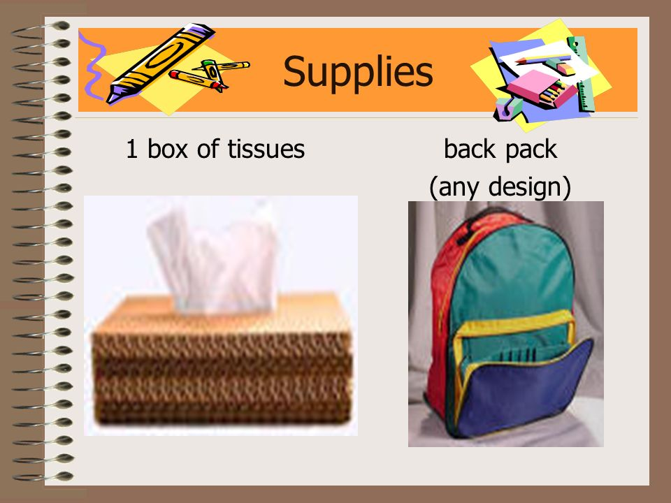 Supplies 1 box of tissues back pack (any design)