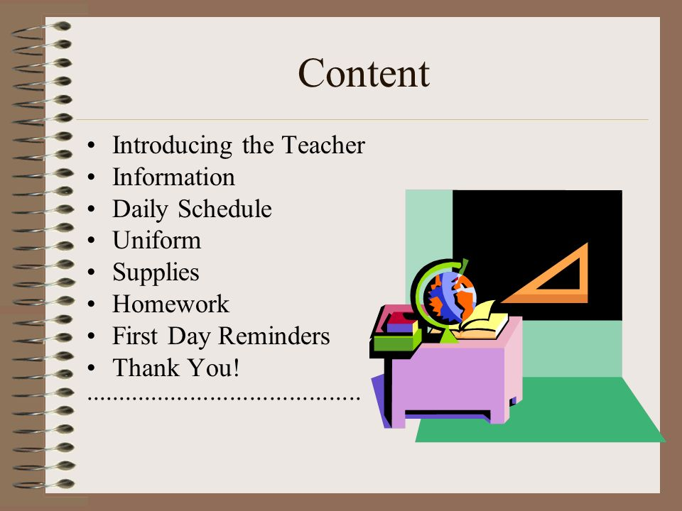 Content Introducing the Teacher Information Daily Schedule Uniform