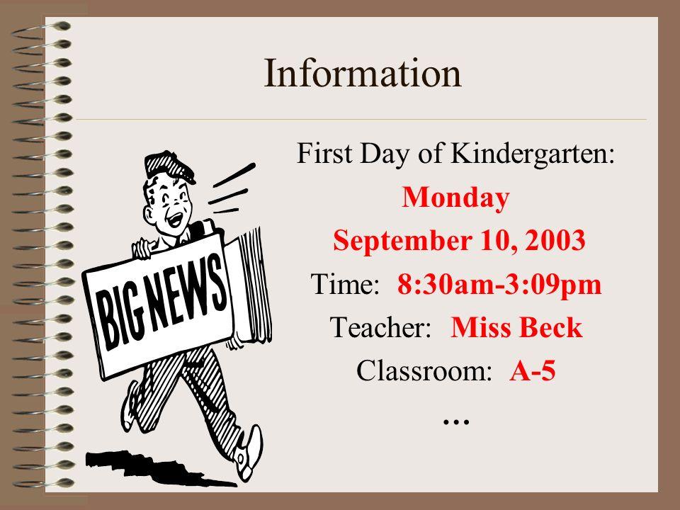 First Day of Kindergarten: