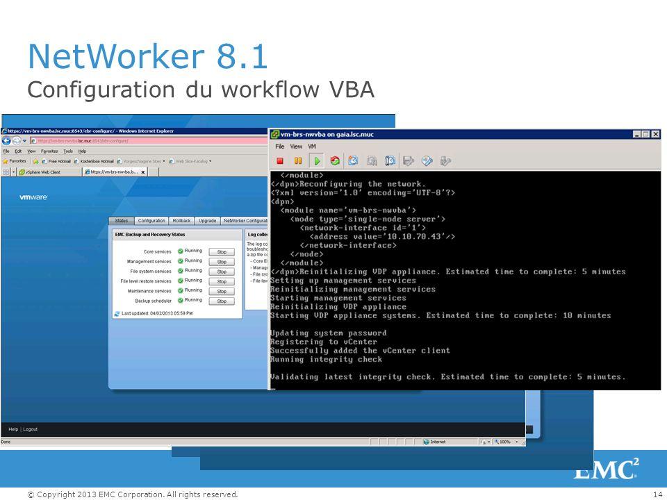 NetWorker 8.1 Configuration du workflow VBA