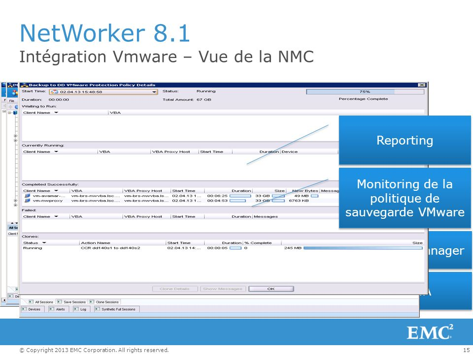 Monitoring de la politique de sauvegarde VMware