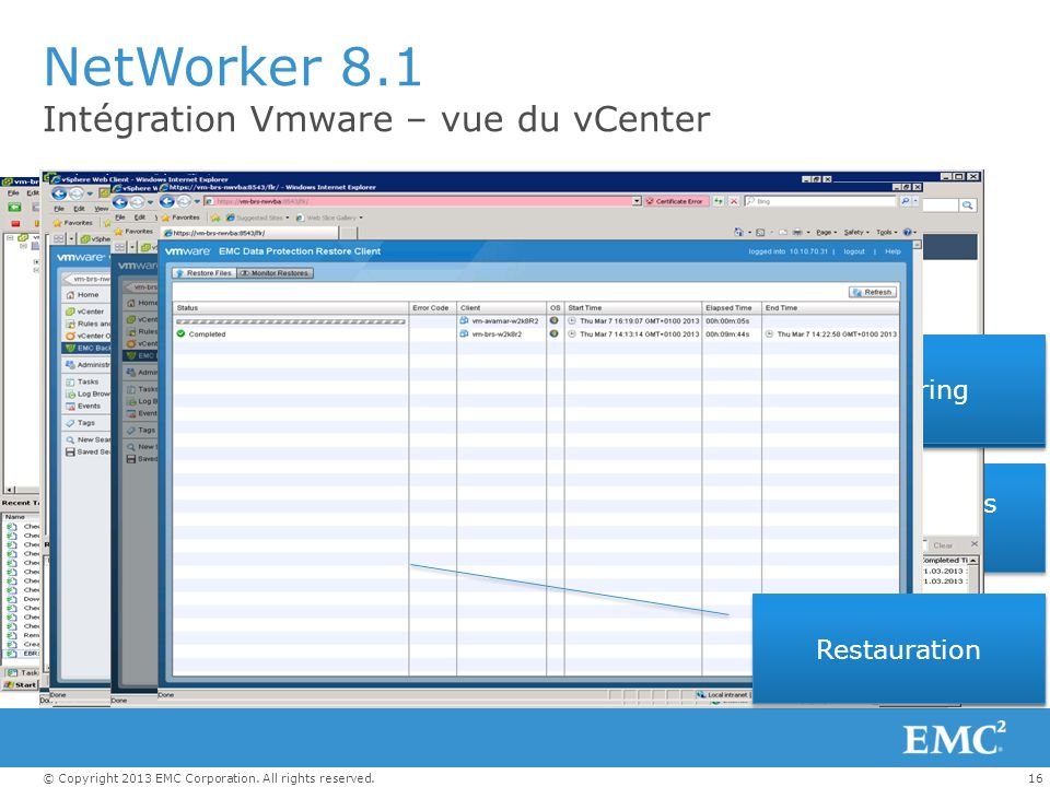 NetWorker 8.1 Intégration Vmware – vue du vCenter Monitoring