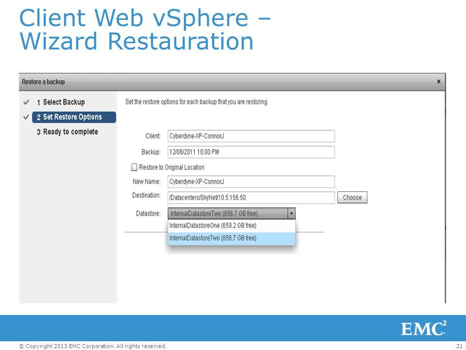 Client Web vSphere – Wizard Restauration