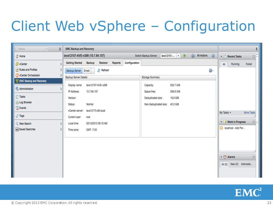 Client Web vSphere – Configuration