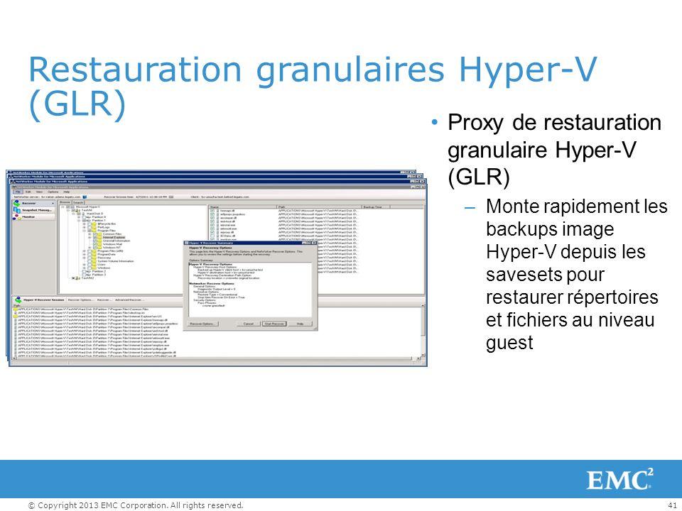 Restauration granulaires Hyper-V (GLR)
