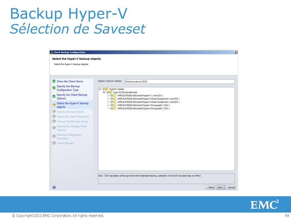 Backup Hyper-V Sélection de Saveset