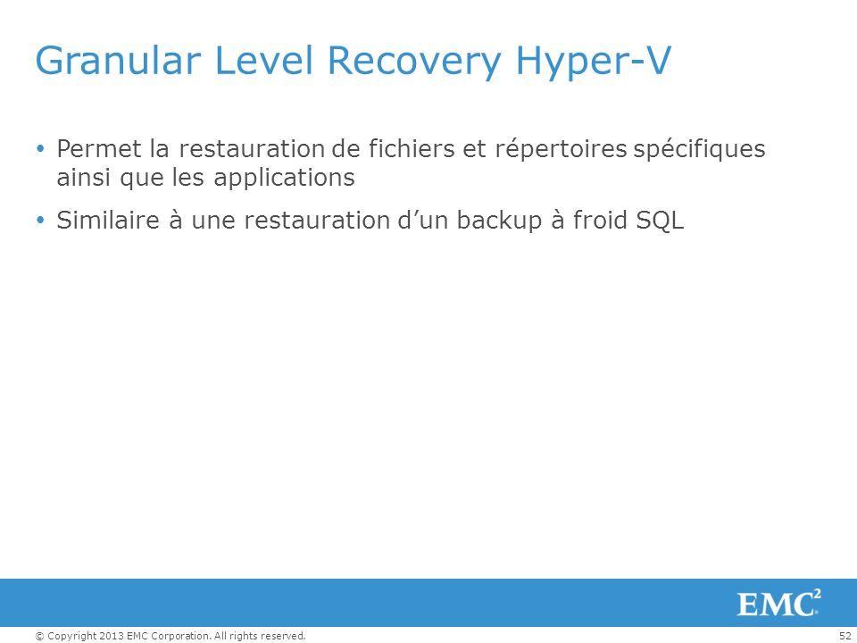 Granular Level Recovery Hyper-V