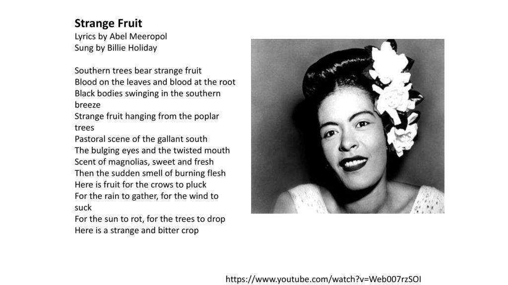 Image result for billie holiday strange fruit lyrics