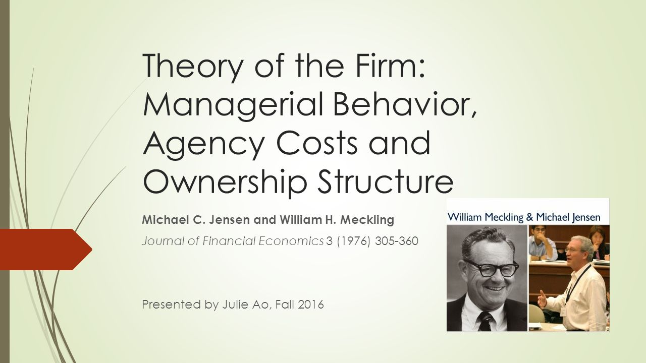 managerial theories of the firm Managerial theories of the firm mangerial theories of the firm are economic theories of how the behaviour of modern management affects the working of the economic system.