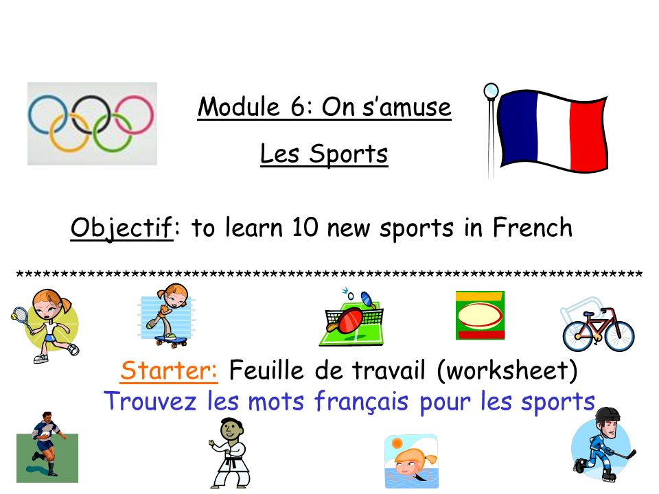 Objectif: to learn 10 new sports in French