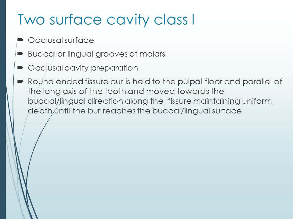 Two surface cavity class I