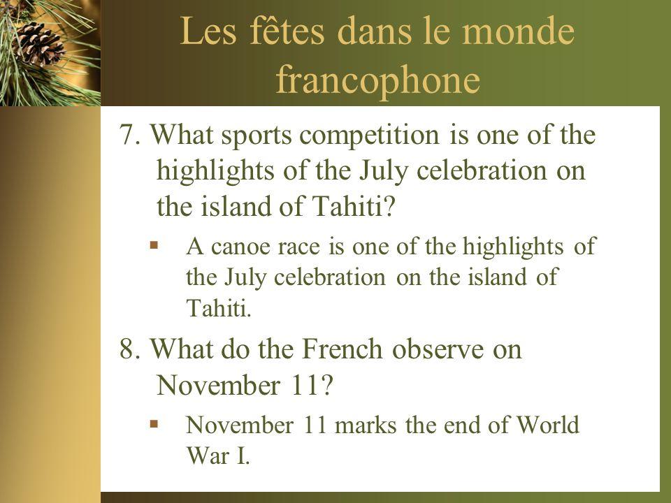 Les fêtes dans le monde francophone