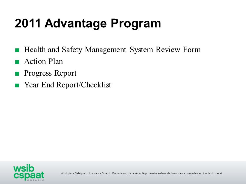2011 Advantage Program Health and Safety Management System Review Form
