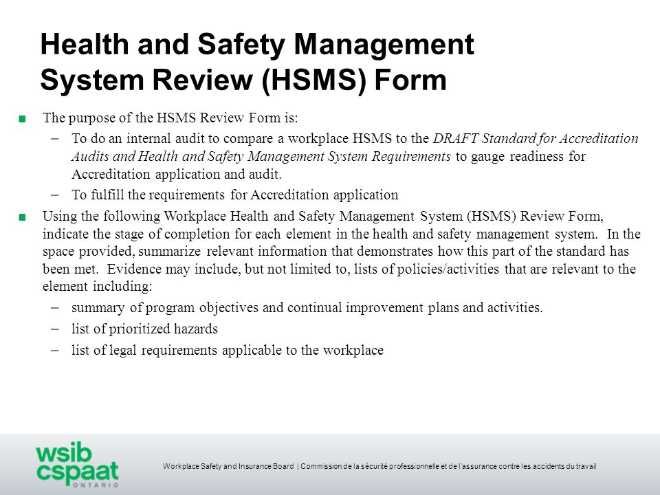 Health and Safety Management System Review (HSMS) Form