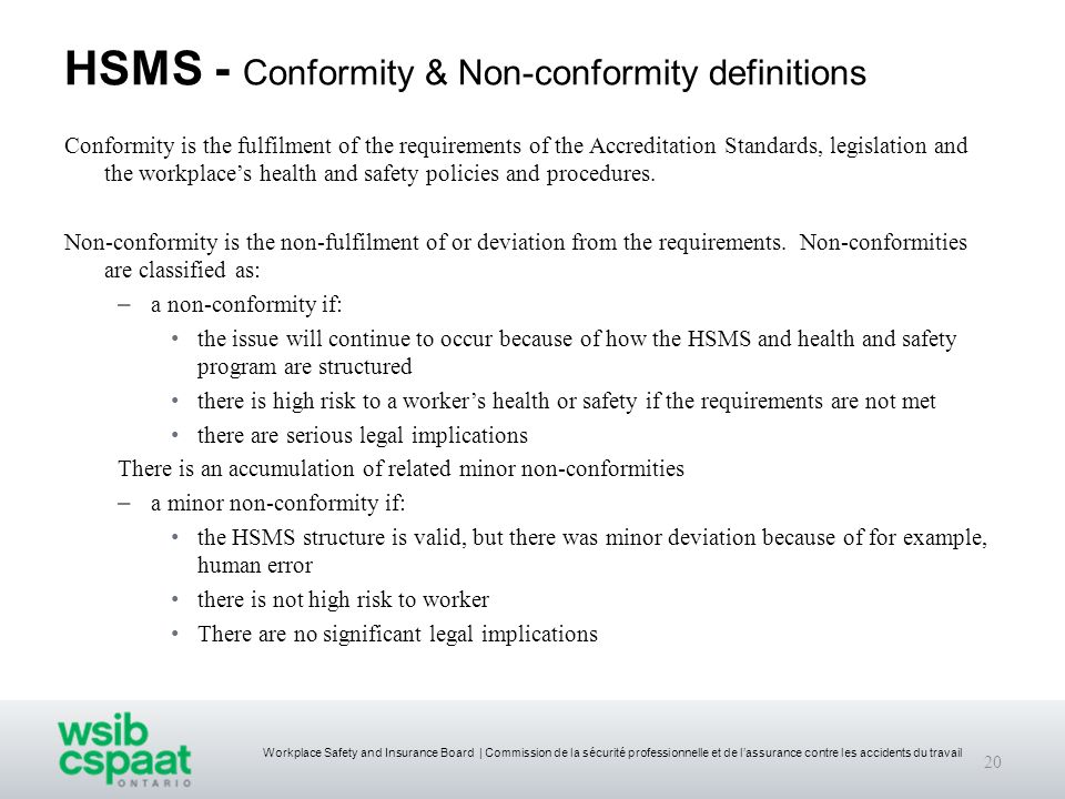 HSMS - Conformity & Non-conformity definitions
