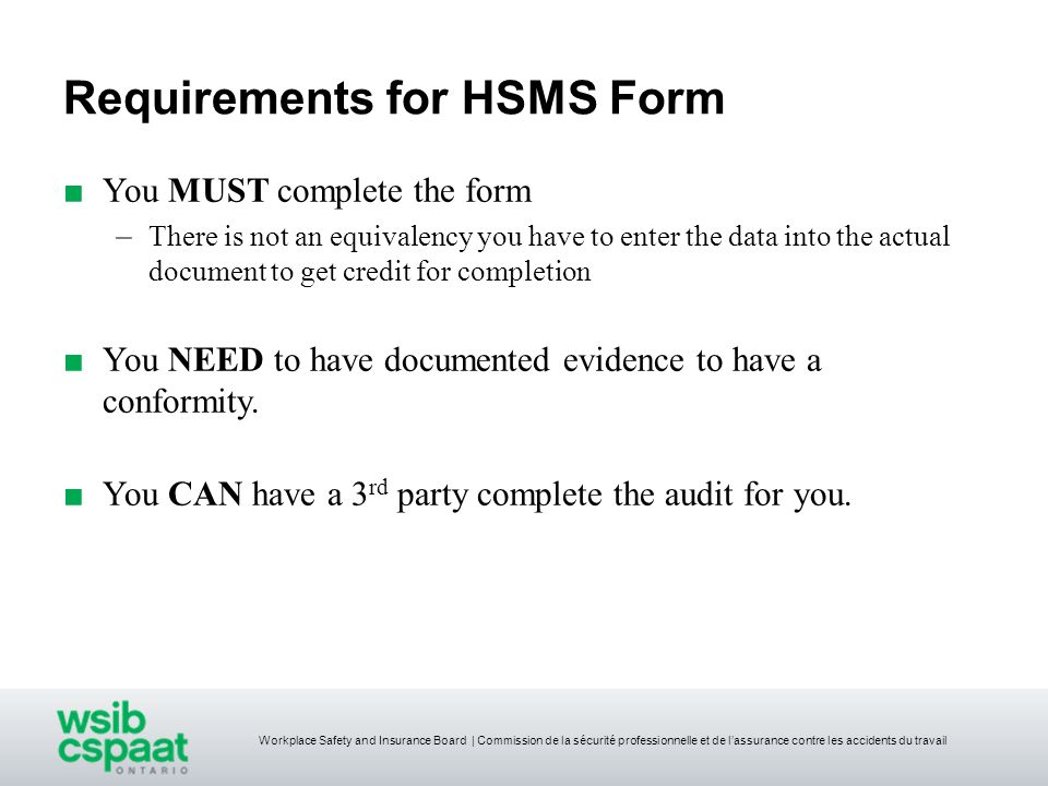 Requirements for HSMS Form