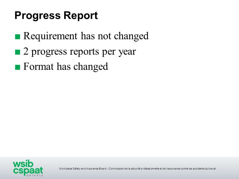 Progress Report Requirement has not changed 2 progress reports per year Format has changed