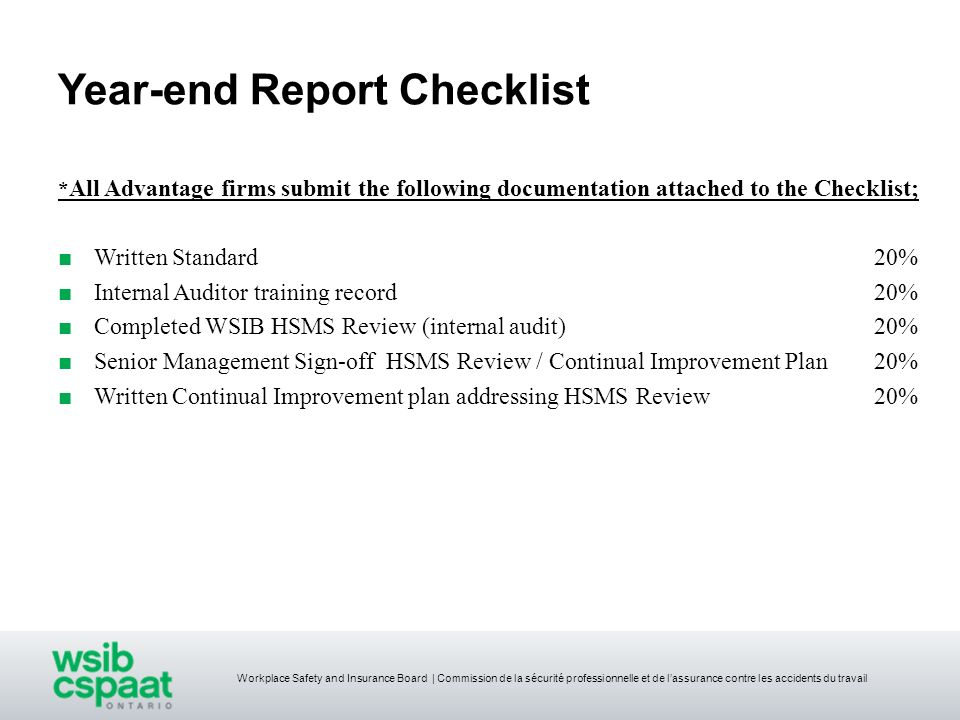 Year-end Report Checklist