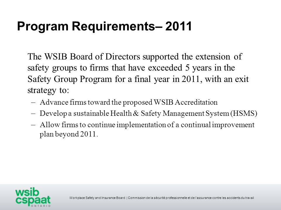 Program Requirements– 2011