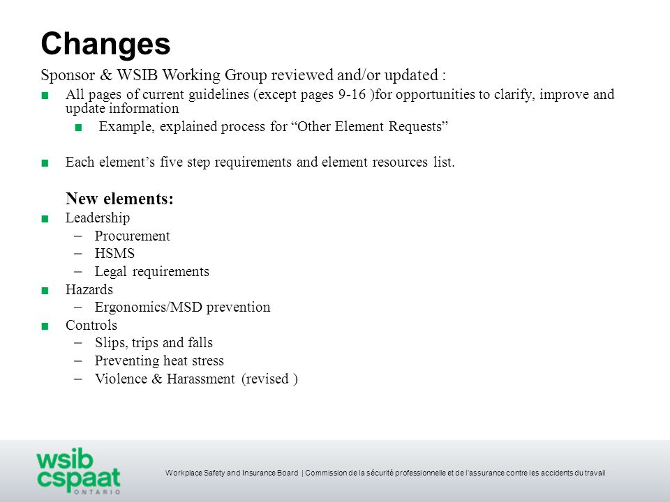 Changes Sponsor & WSIB Working Group reviewed and/or updated :