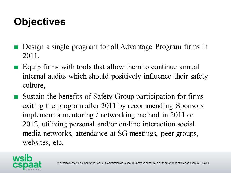 Objectives Design a single program for all Advantage Program firms in 2011,