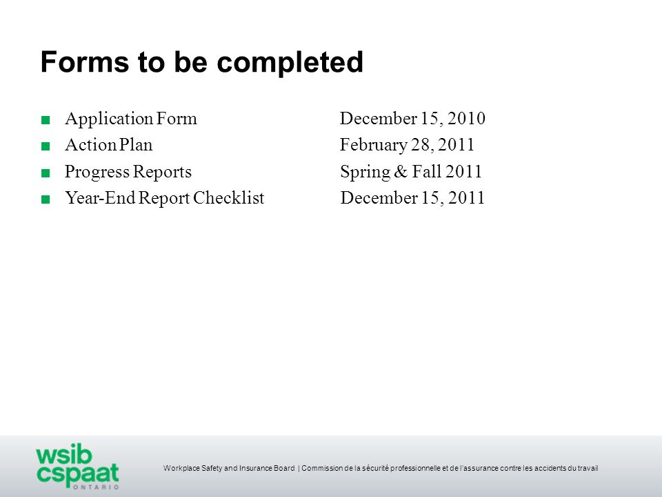 Forms to be completed Application Form December 15, 2010