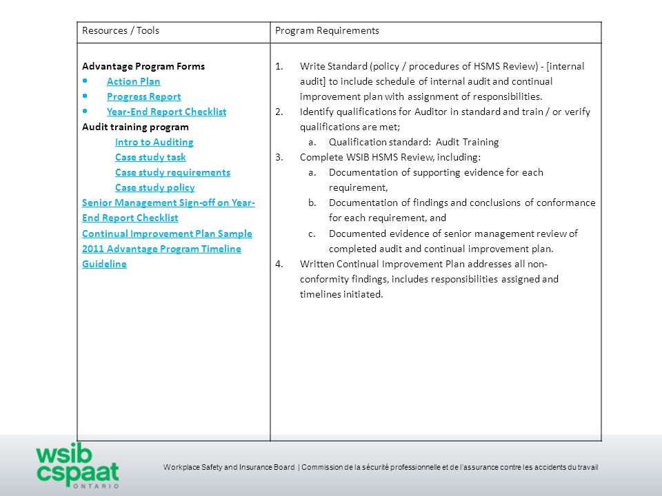 Resources / Tools Program Requirements. Advantage Program Forms. Action Plan. Progress Report. Year-End Report Checklist.