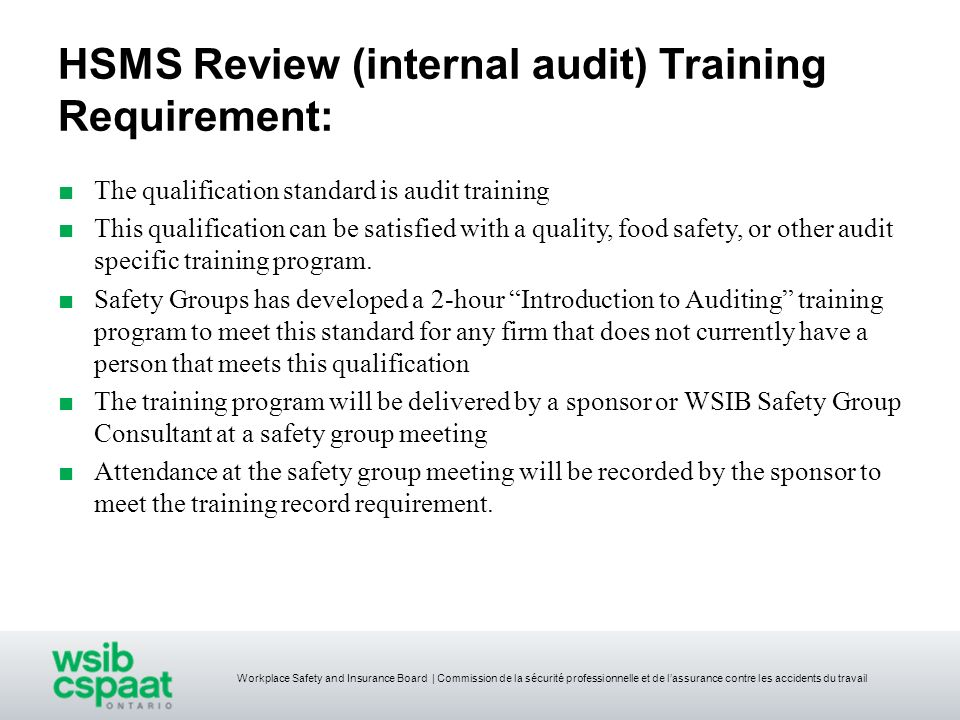 HSMS Review (internal audit) Training Requirement: