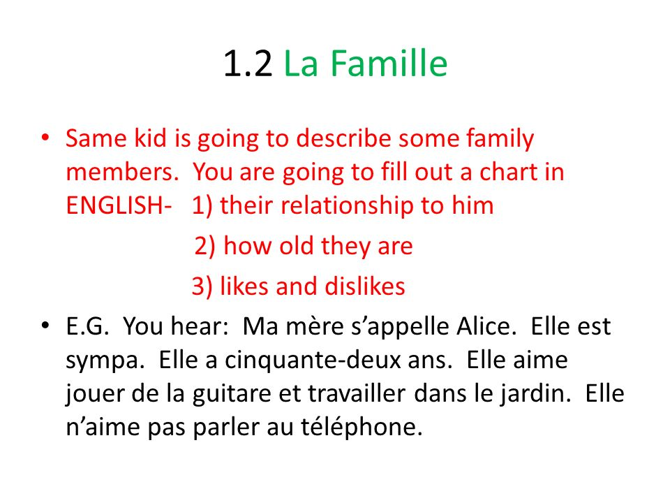 1.2 La Famille Same kid is going to describe some family members. You are going to fill out a chart in ENGLISH- 1) their relationship to him.