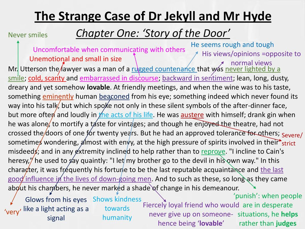 """dr jekyll as an almost evil character in chapter 7 of the strange case of dr jekyll and mr hyde a no Robert louis stevenson's dr jekyll and mr hyde is an appropriate addition to a  high  characters, elegant writing, and a provocative treatment of themes that  continue to be  he tells utterson """"a very odd story  chapter 4: the carew  murder case  now his evil side begins to take over even without the drug."""