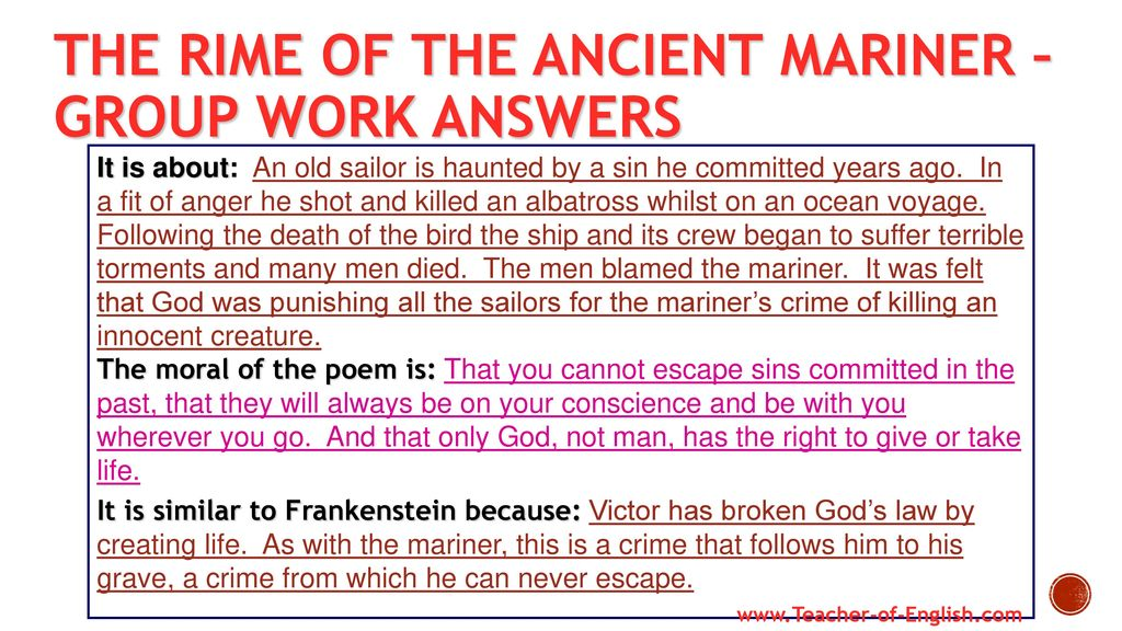 The Rime Of The Ancient Mariner Worksheet - The Best and Most ...