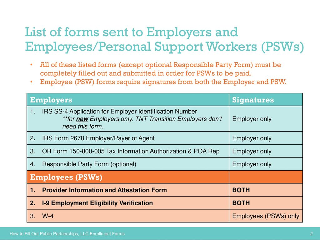 Employersindividuals and personal support workers psws transition list of forms sent to employers and employeespersonal support workers psws falaconquin