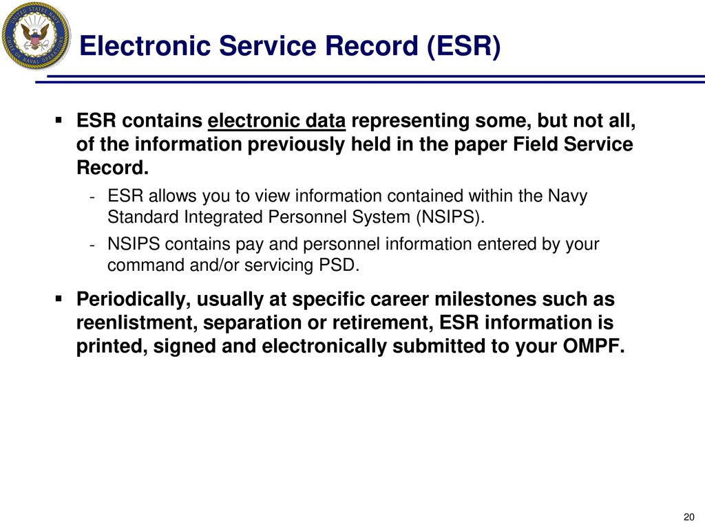 Electronic Service Record Esr