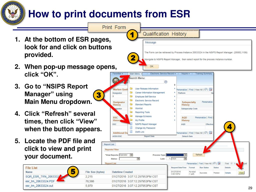 How To Print Doents From Esr
