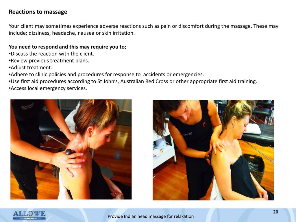 how to respond to client discomfort during a massage