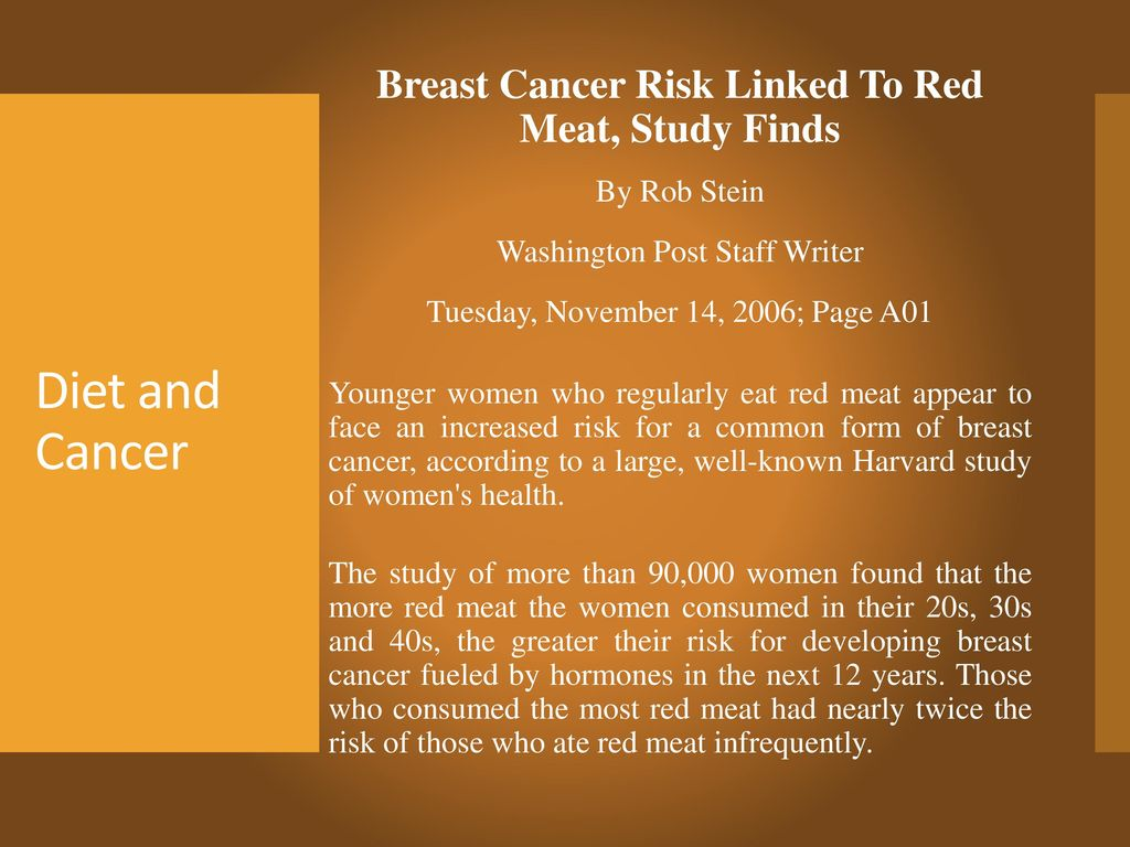 Breast Cancer Risk Linked To Red Meat, Study Finds
