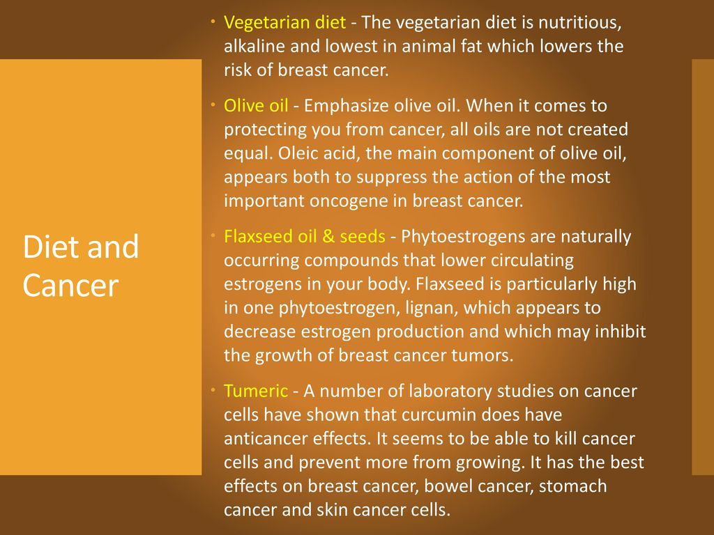 Vegetarian diet - The vegetarian diet is nutritious, alkaline and lowest in animal fat which lowers the risk of breast cancer.