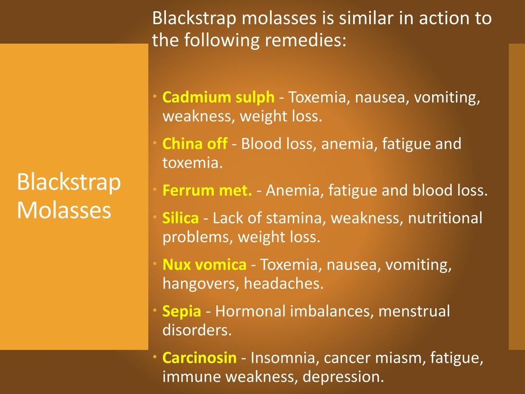 Blackstrap molasses is similar in action to the following remedies:
