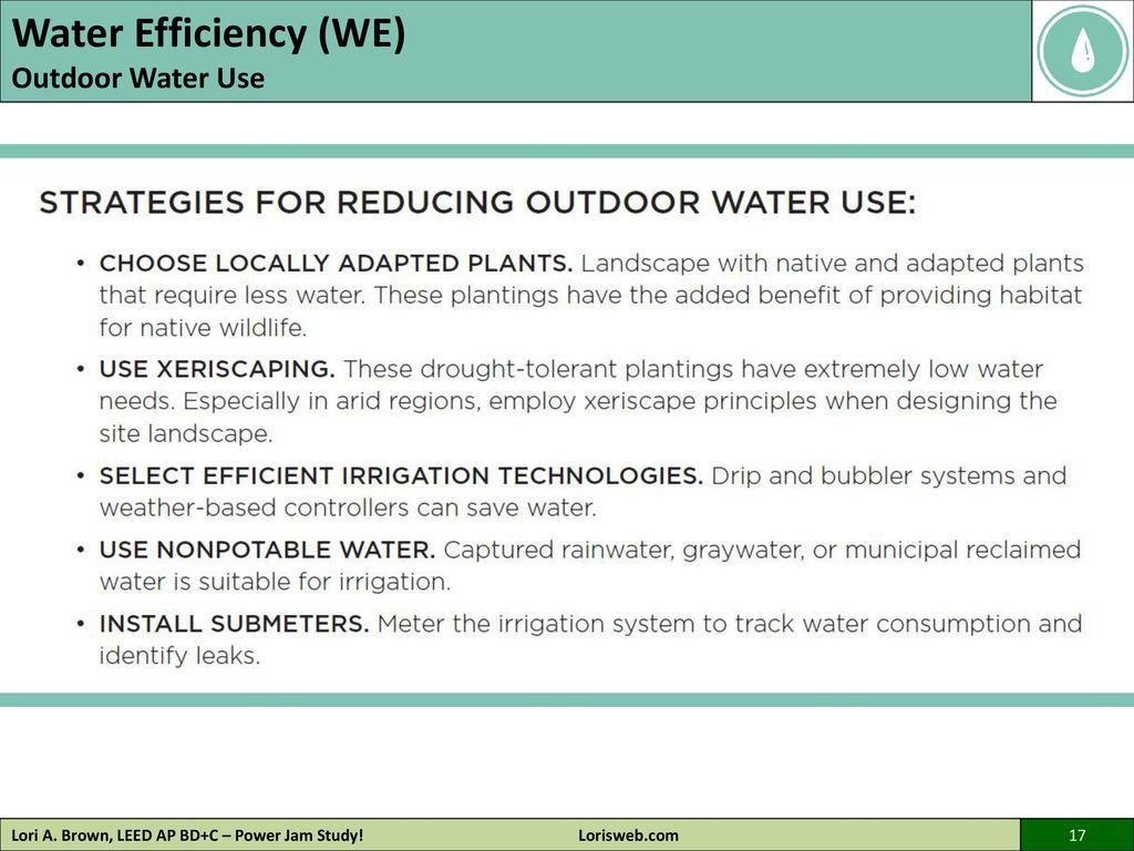 Lori a brown leed ap bdc power jam study lorisweb ppt 17 water efficiency xflitez Gallery