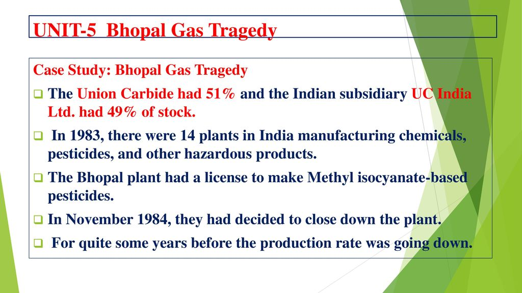 ethical issues violated in bhopal gas tragedy Group 8 ims 3310  002 bhopal disaster the unethical dilemma  there are a myriad of theories that are the cause of bhopal accident multiple issues at the.