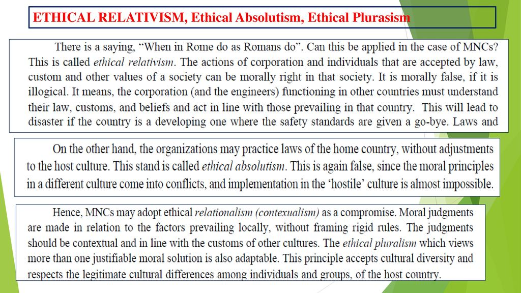 a comparison of absolutism and relativism Cultural relativism is this shift from naive self-centeredness in one's own time and spot to a broader view based on objective comparison is somewhat like.