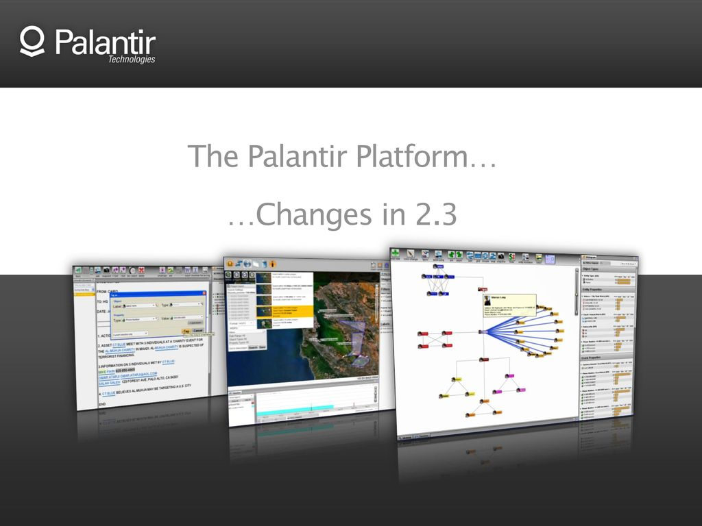 The Palantir Platform… …Changes in 2 3