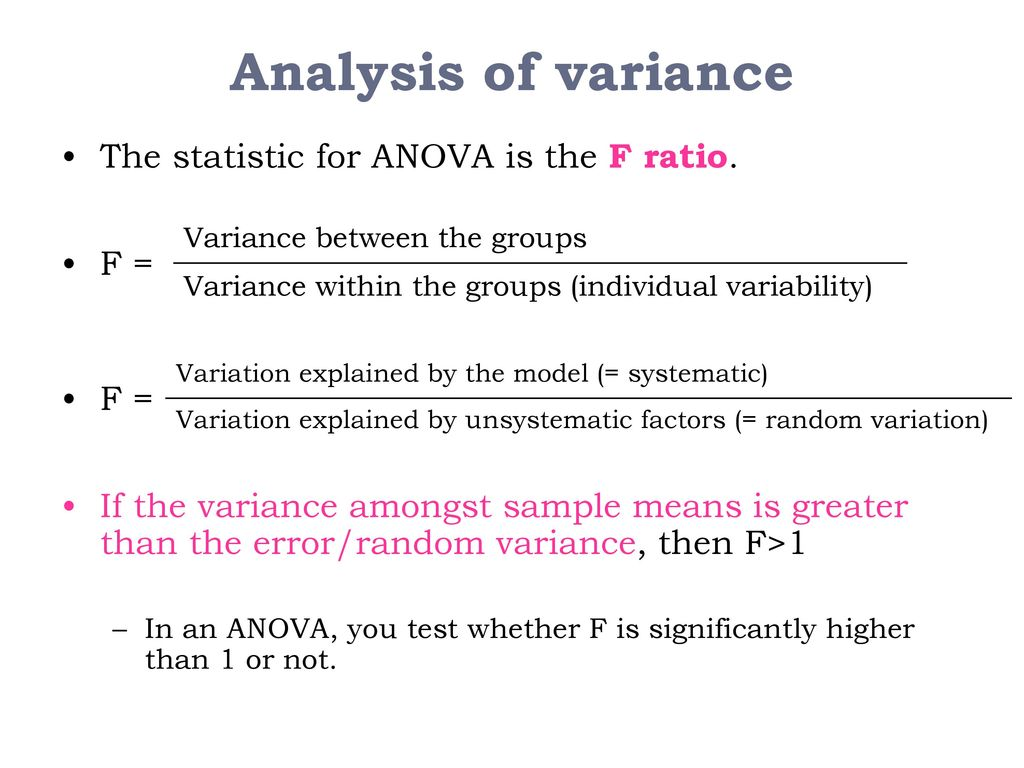 analysis of variance models F-tests can compare the fits of different models, test the overall significance in regression models, test specific terms in linear models, and determine whether a set of means are all equal related post : measures of variability: range, interquartile range, variance, and standard deviation.