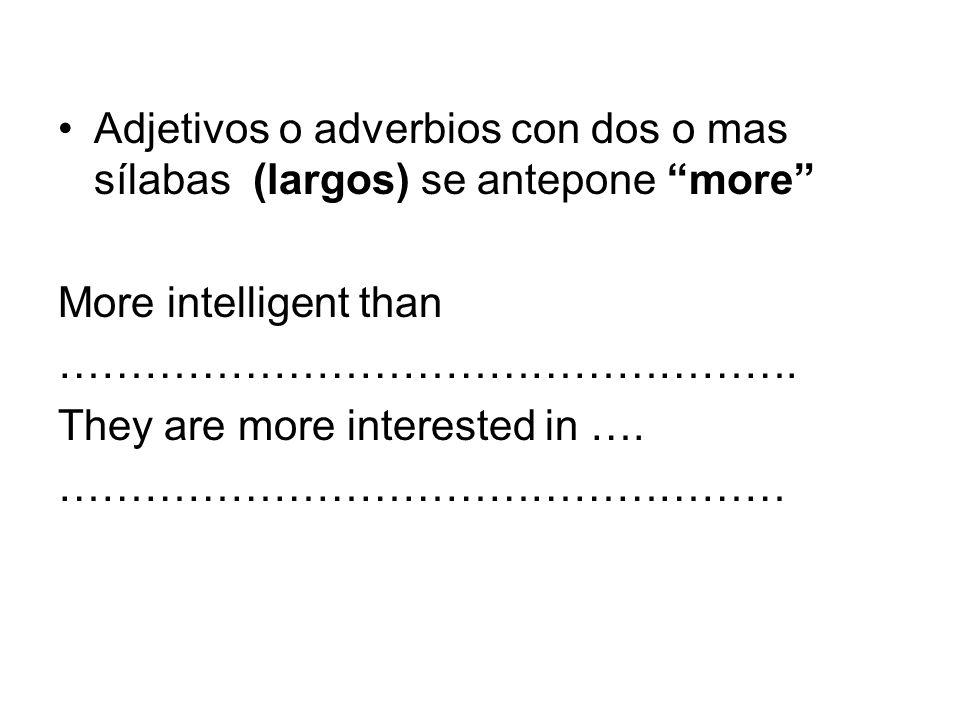 Adjetivos o adverbios con dos o mas sílabas (largos) se antepone more
