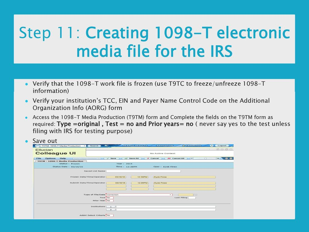 1098 t processing nerdug 2016 dont get left in the cold ppt step 11 creating 1098 t electronic media file for the irs falaconquin