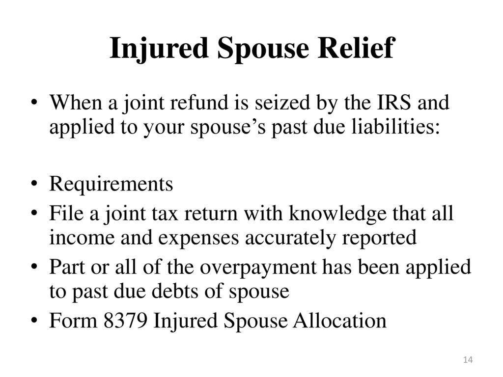 Until death and taxes do us part ppt video online download injured spouse relief when a joint refund is seized by the irs and applied to your falaconquin