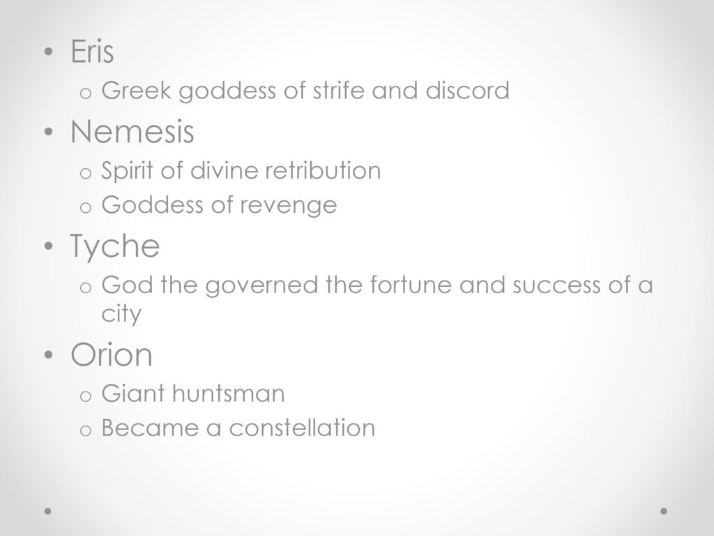 Gods and goddesses of ancient greece ppt video online download 5 eris nemesis tyche orion greek goddess biocorpaavc Image collections