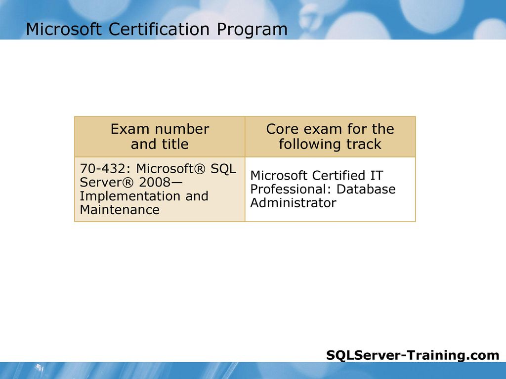 Maintaining a microsoft sql server 2008 database ppt download microsoft certification program xflitez Choice Image