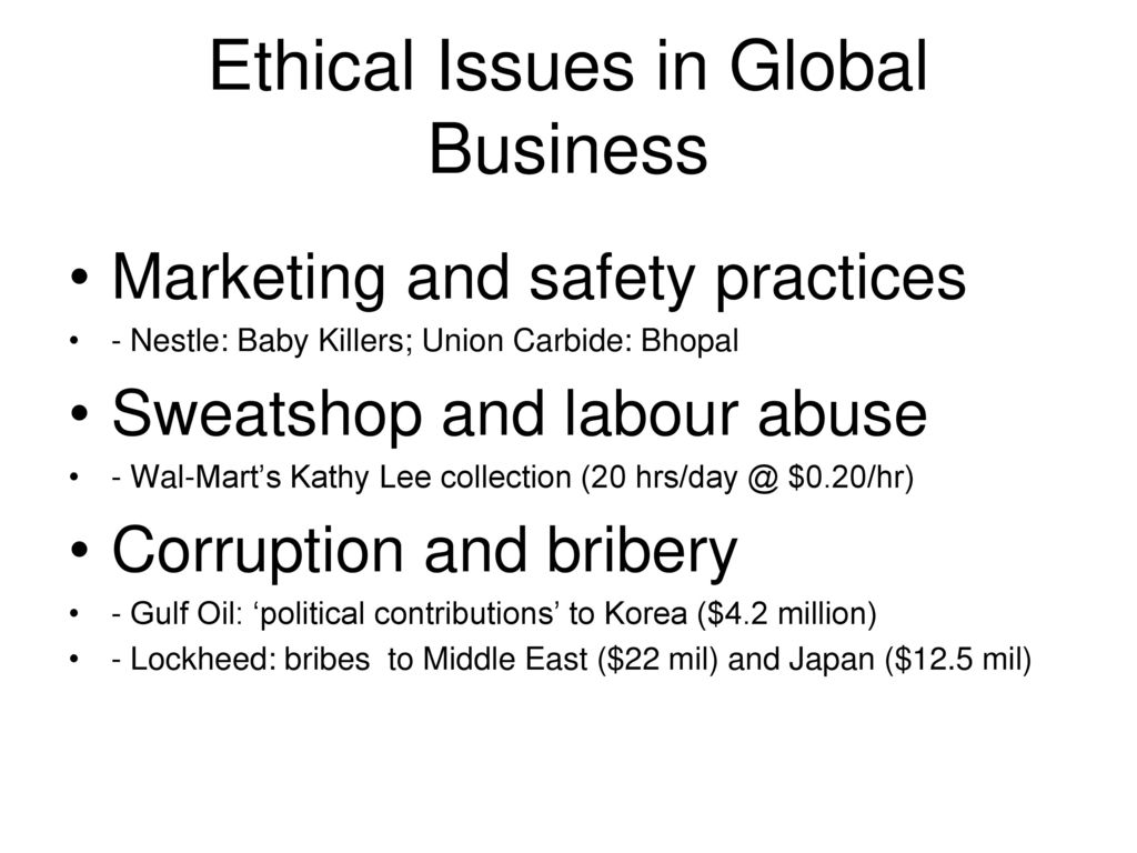 ethical and social concerns in global Corporate social responsibility (csr) promotes a vision of business accountability to a wide range of stakeholders, besides shareholders and investors key areas of concern are environmental.