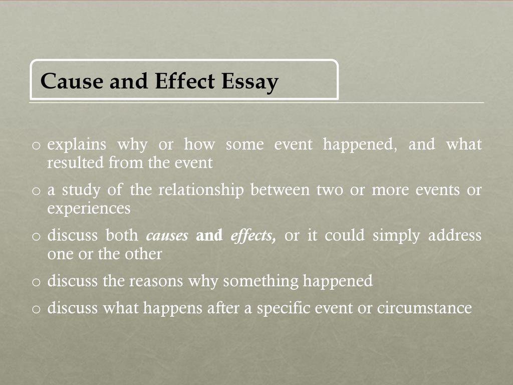define cause and effect essays Students consider cause and effect essays to be easy by definition, a cause and effect essay is meant to identify a topic and expound on its cause and effects.